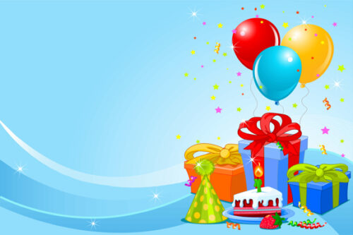Balloons and presents with pale blue background