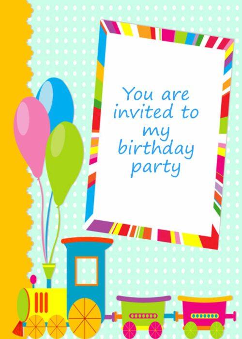 Colourful train and balloons invitation