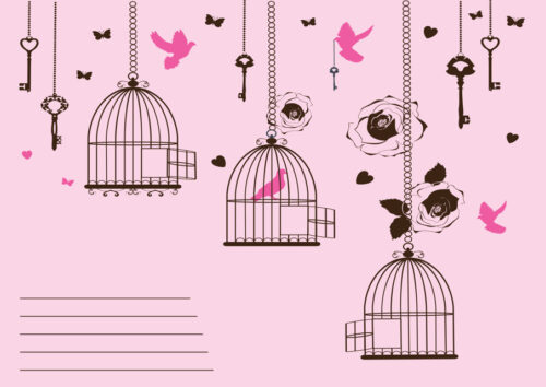Birds and bird cages invitation