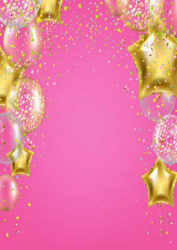 Gold and white balloons with pink background