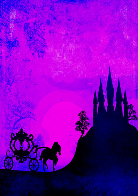 Fantasy castle with pink background
