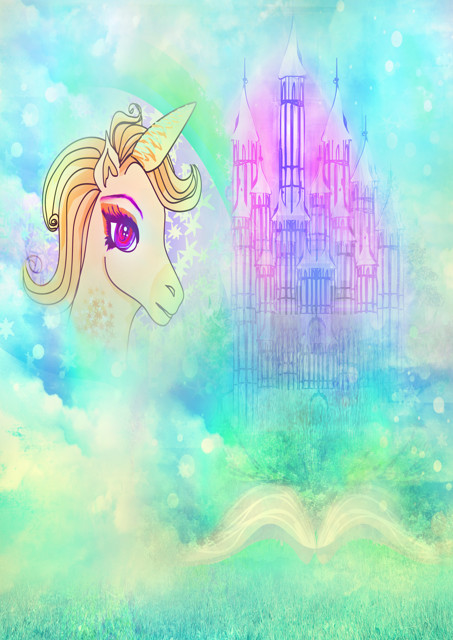 Fantasy unicorn and castle