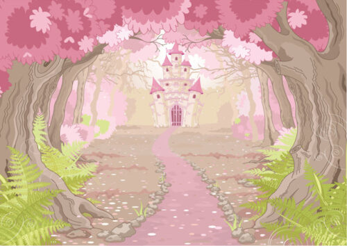 Fantasy castle surrounded by blossom trees