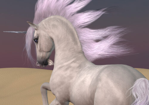 Unicorn with long mane