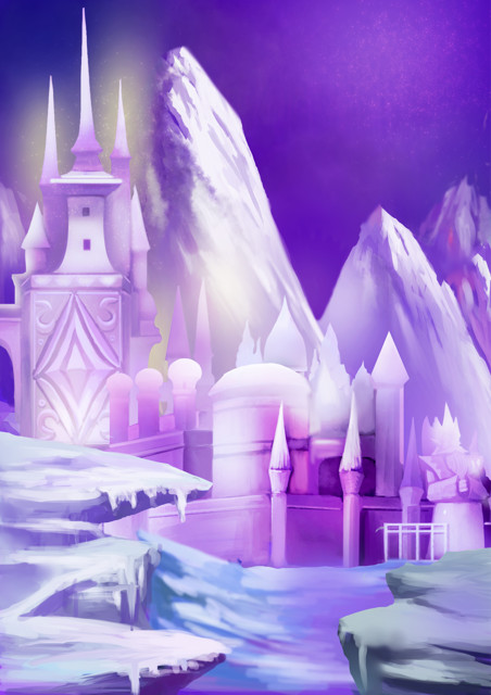 Snow palace with purple sky
