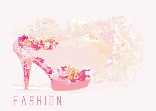 Floral pink shoe and pastel background