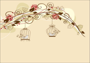 Birds in cages with flowers