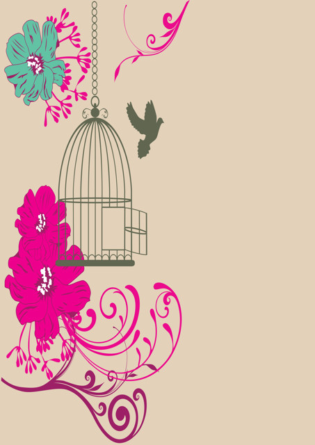 Bird cage with pink flowers and beige background