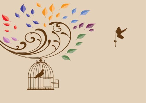 Birds and bird cage with beige background