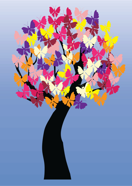 Colourful butterflies on tree
