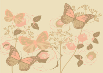 Pastel butterflies and cream background