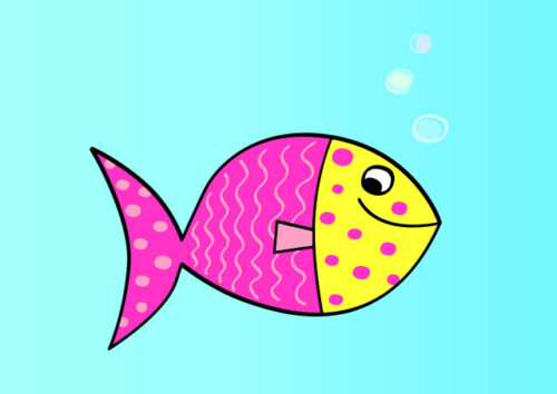 Shocking pink and yellow patterned fish