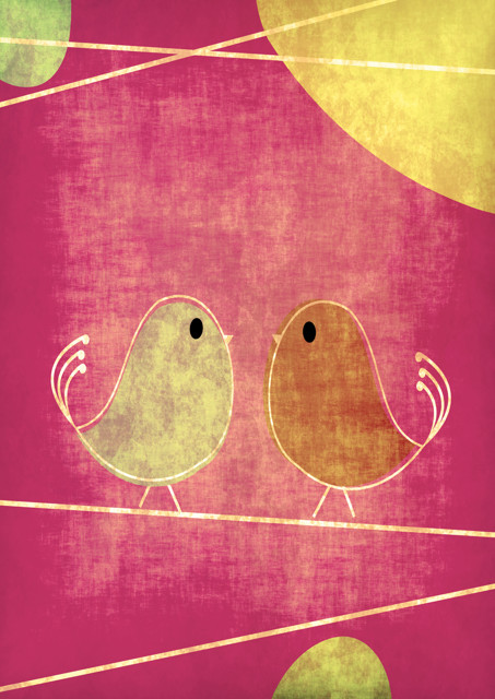 Birds with pink background