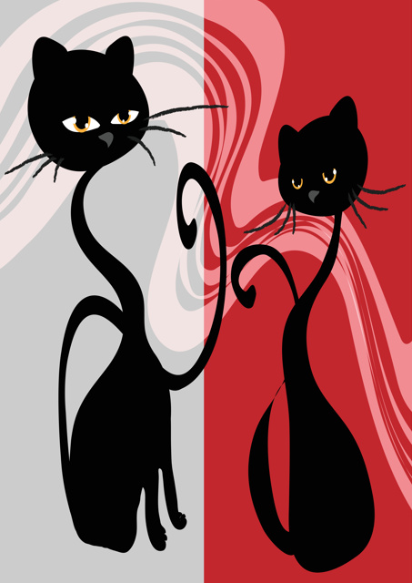 Black cats with red and grey backgrounds