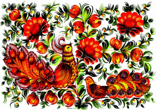 Birds and flowers in brown