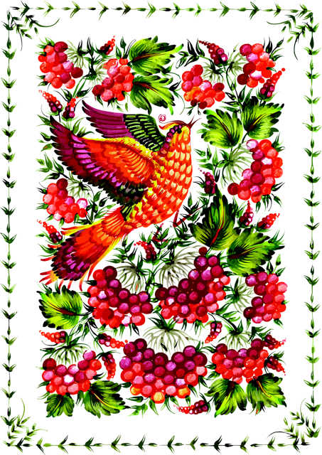 Colourful bird with grapes and leaves