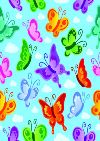 Colourful butterflies with blue background