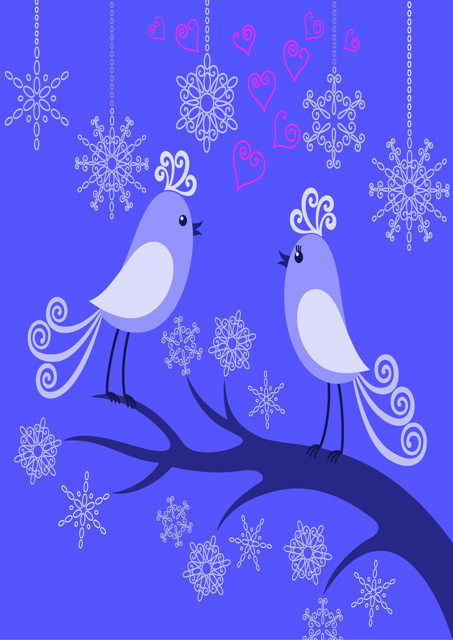Birds with purple background