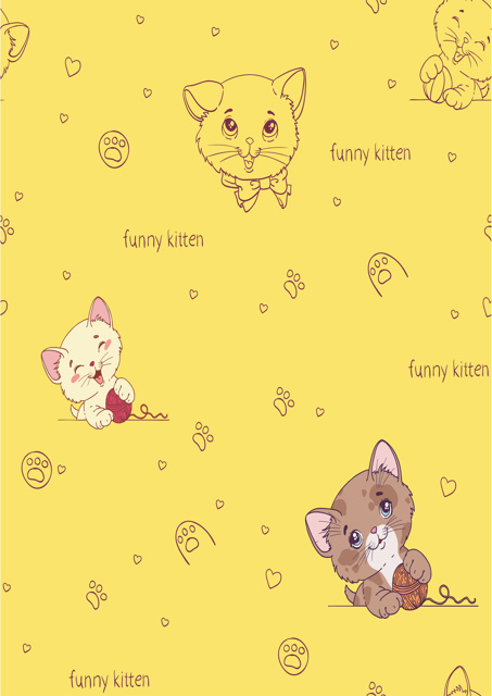Cute kittens with yellow background
