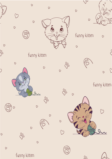 Cute kittens with beige background