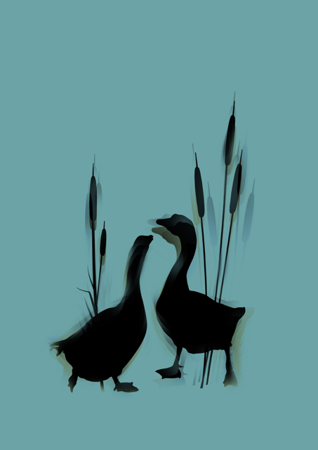 Silhouette of geese and bulrushes