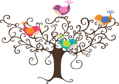 Colourful birds in tree