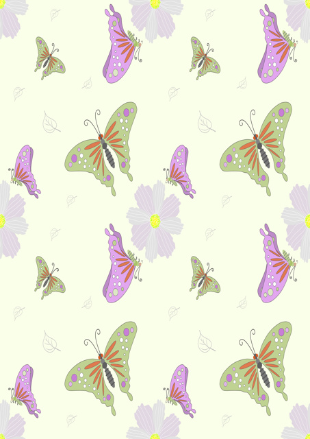Butterflies in pastel shades