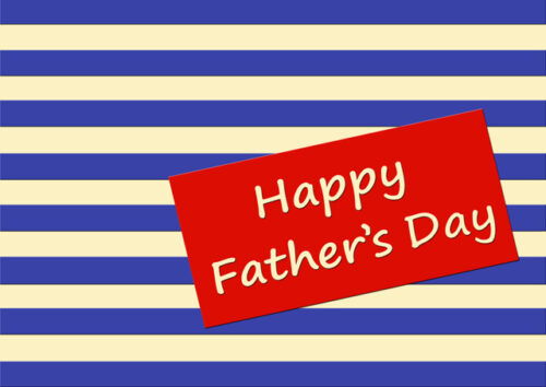 Happy Father's Day with blue and cream striped background