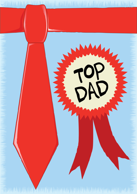 Top Dad with red necktie
