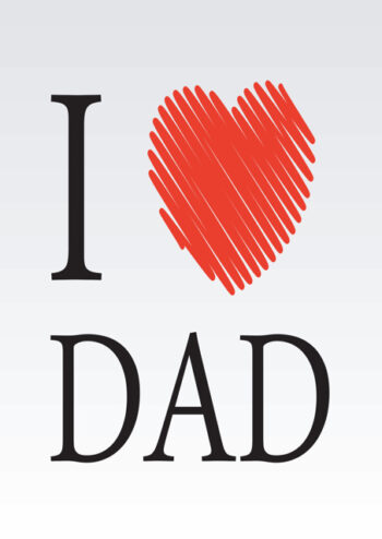 I love Dad with red heart