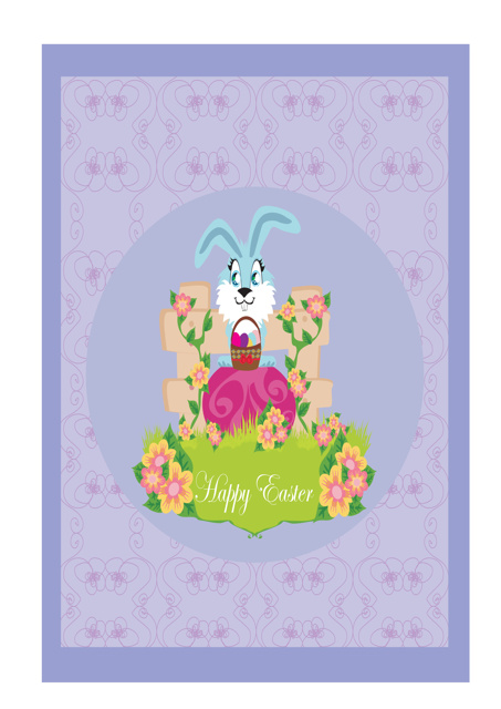 Easter bunny with flowers and eggs