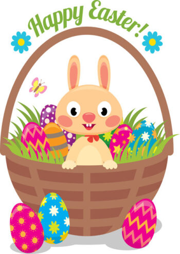 Easter bunny in basket of eggs