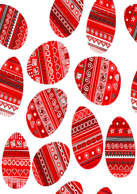 Patterned red Easter eggs