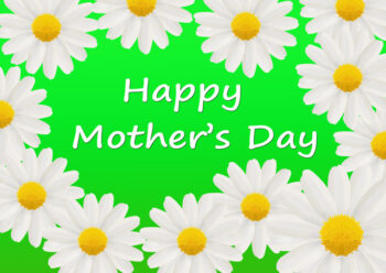 Happy Mother's Day with daisies and lime green background
