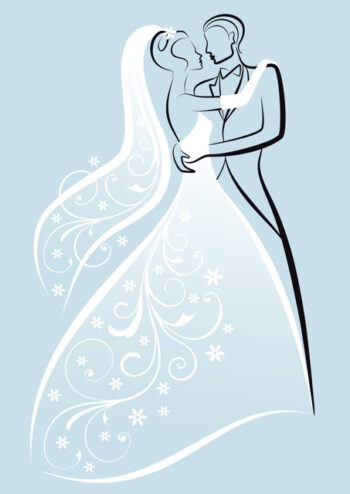 Bride and groom with pale blue background