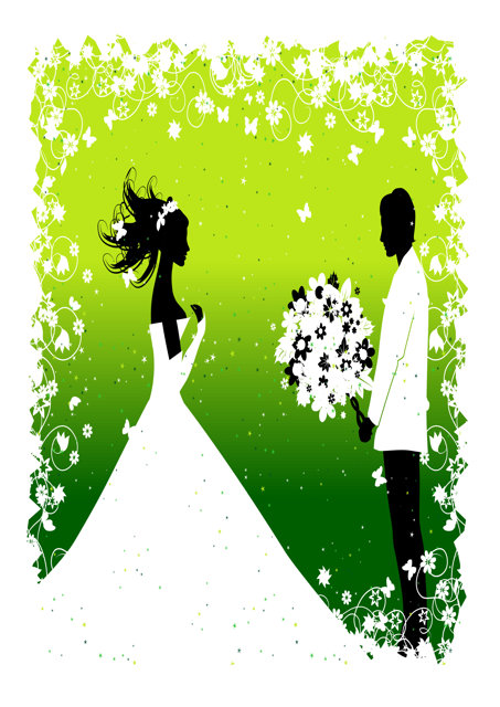 Bride and groom with lime and green background