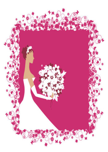 Bride with white and pink background