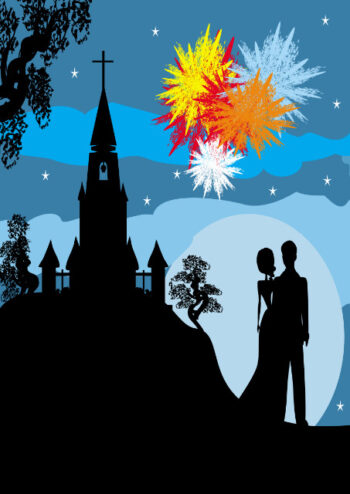 Silhouette of bride and groom with fireworks