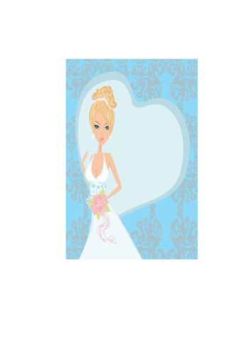 Bride with white heart and blue background
