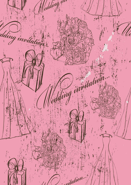 Wedding invitation with pink background
