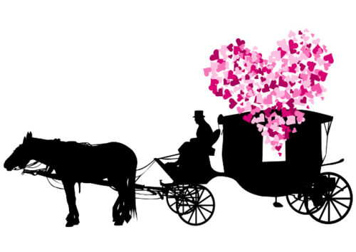 Silhouette of horse and carriage with pink hearts