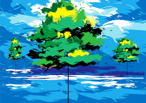 Trees with blue background