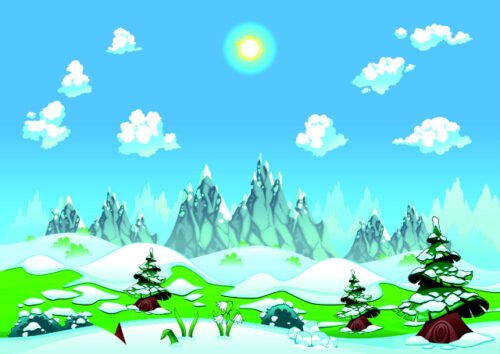 Mountains and snow covered landscape