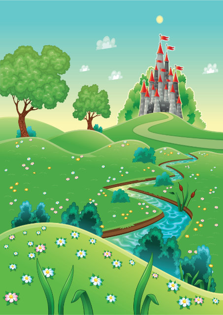 Fairy tale castle and stream