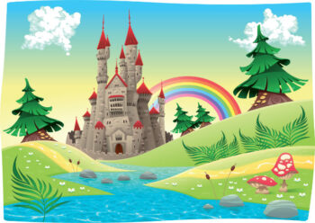 Fantasy castle near river with rainbow