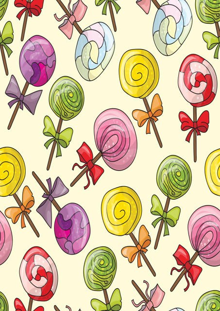 Colourful lollipops with cream background
