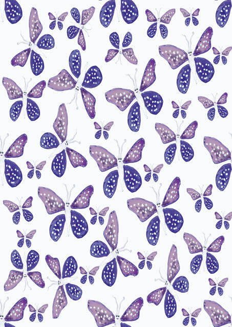Purple butterflies with white background