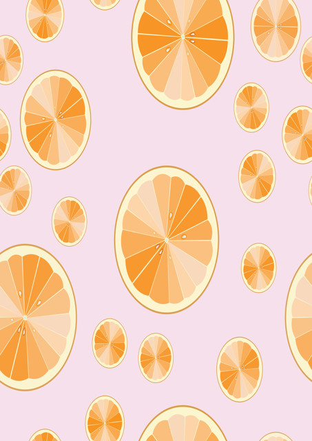 Orange slices with pale pink background