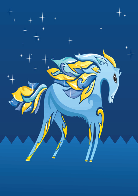 Blue and yellow horse with blue background