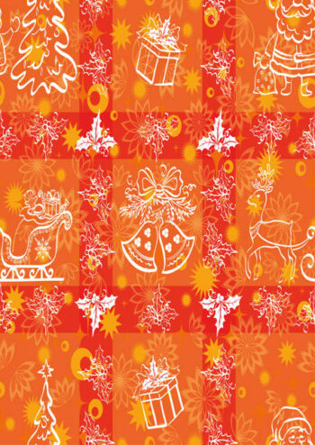 Christmas items with orange and red background